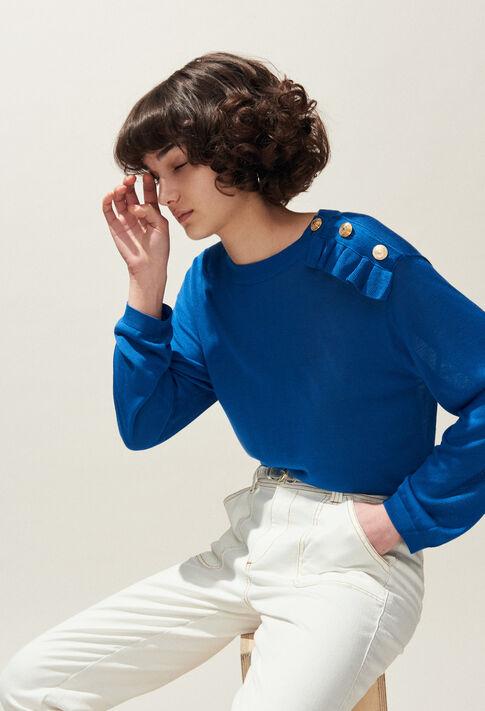 MALIGNE : Maille & Sweatshirts couleur BLEU TRANSAT