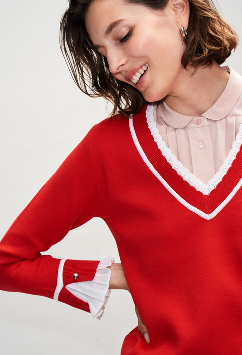 MAKYH19 : Maille & Sweatshirts couleur ROUGE