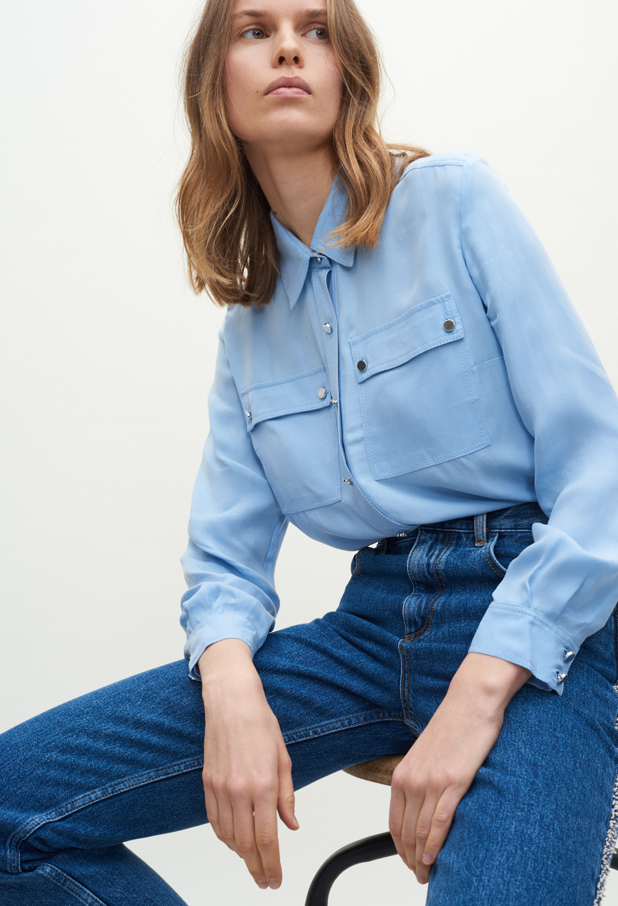 Shirt with flap pockets