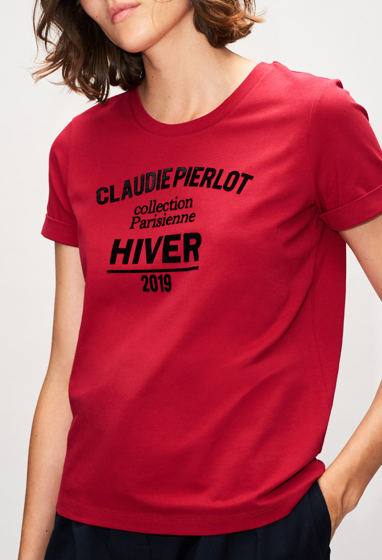 Velvet effect slogan T-shirt