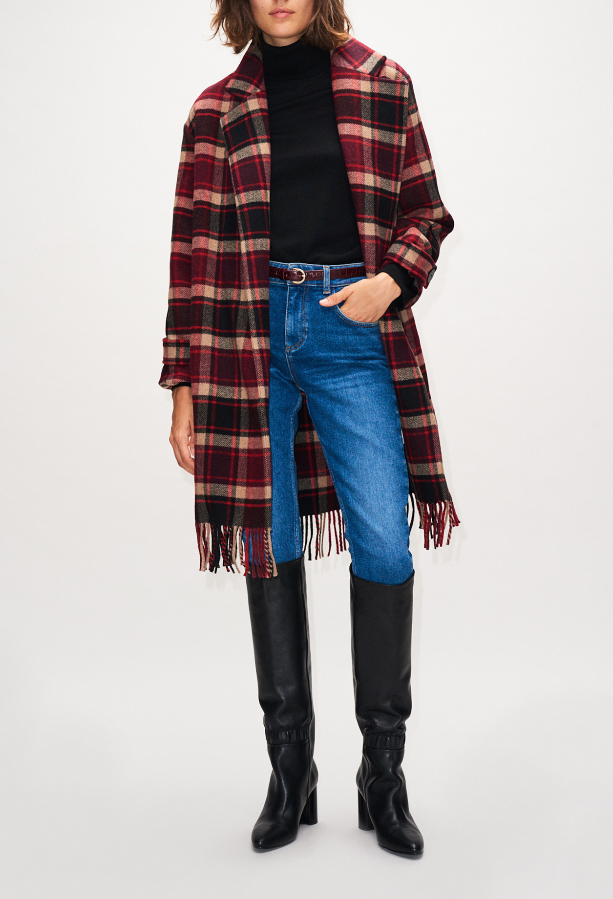 Fringed checked coat