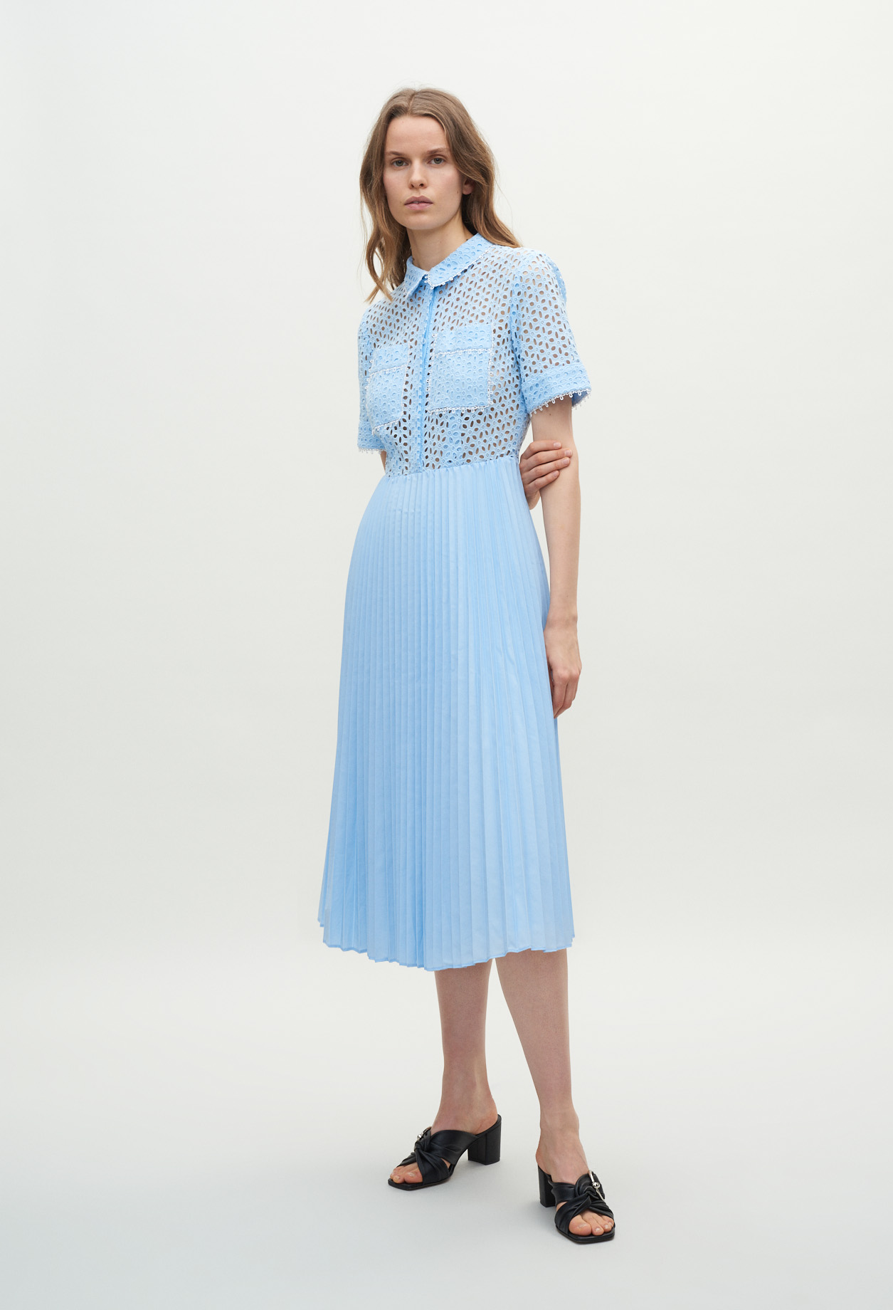 Pleated azure dress