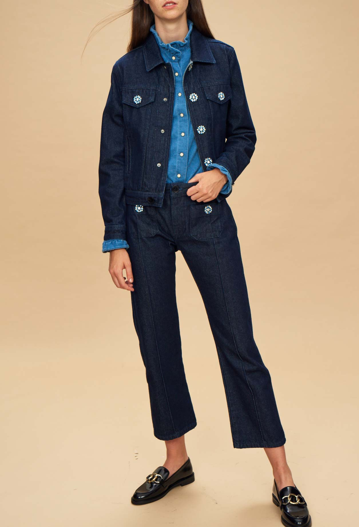 Raw denim jacket with jewelled buttons