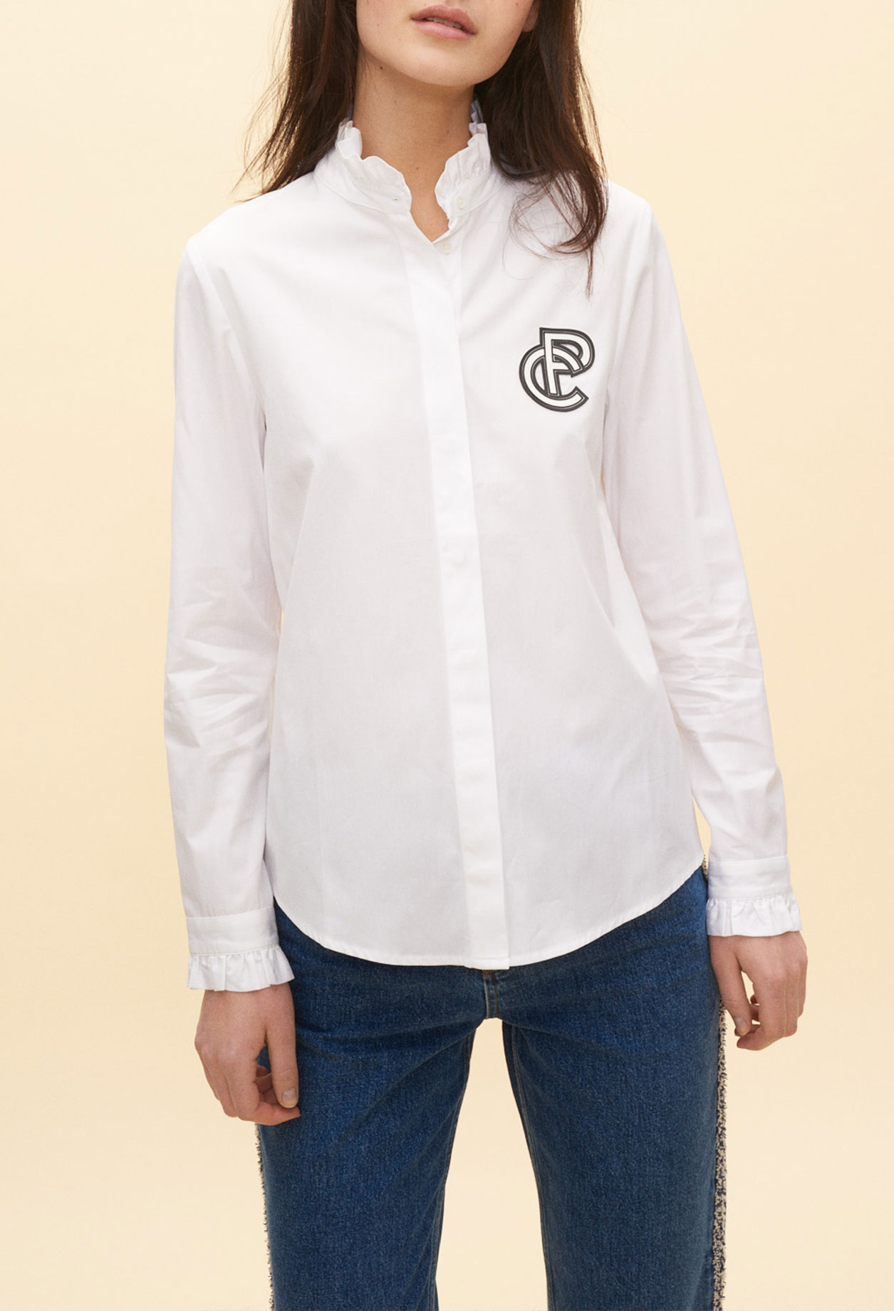 Shirt with pleated high neckline