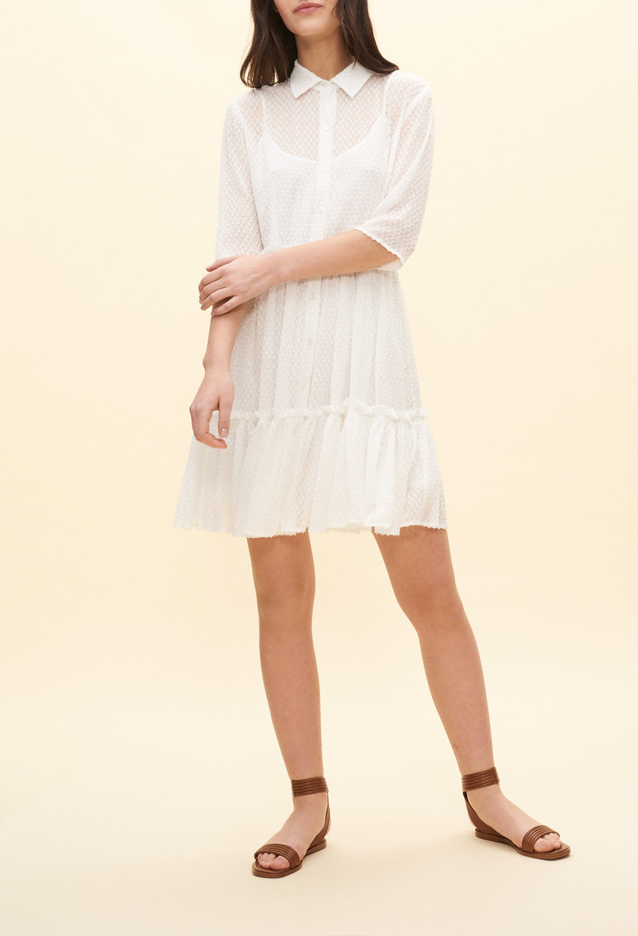 White dotted Swiss shirt dress