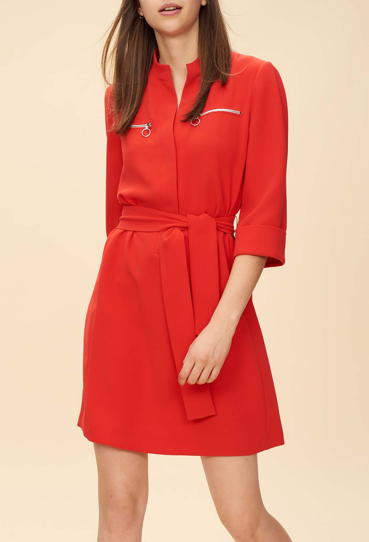 Belted dress with zipped pockets